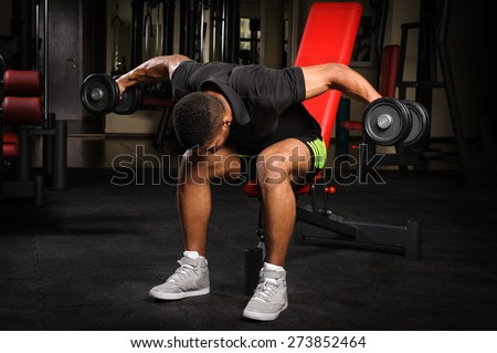 handsome young african descent mixed race man doing Seated Bent Over Dumbbell Reverse Fly workout in gym - stock photo