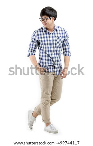 Handsome young Asian collage student man on white background