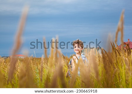handsome young boy having fun playing on the meadow in summer with green grass - stock photo