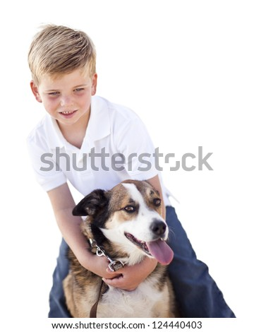 Handsome Young Boy Playing with His Dog Isolated on a White Background.