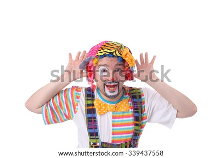 handsome young bright clown closeup - stock photo
