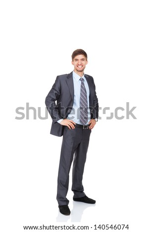 Handsome young business man happy smile, businessman wear elegant suit and tie full length portrait isolated over white background