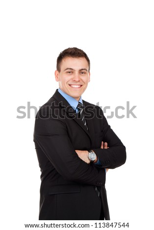 Handsome young business man happy smile, businessman with folded hands wear elegant suit and tie isolated over white background - stock photo