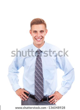 Handsome young business man happy smile, businessman with hands on waist wear elegant shirt and tie isolated over white background
