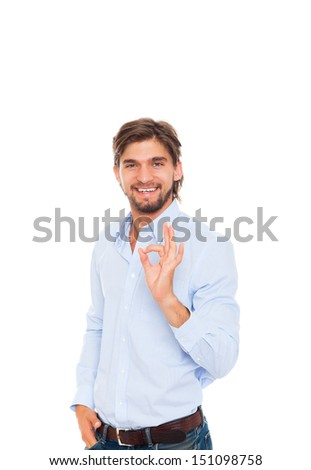 Handsome young business man hold hand with ok gesture sign, businessman happy smile, wear blue shirt, casual jeans isolated over white background