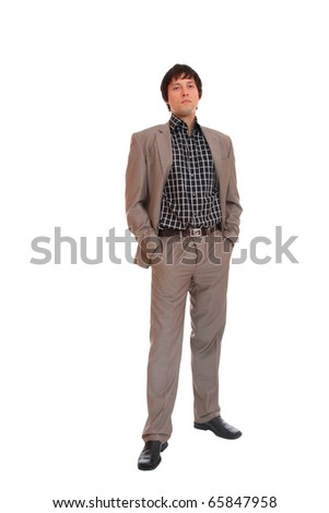 Handsome young business man isolated over white background