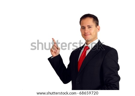 Handsome young business man pointing up to his right side