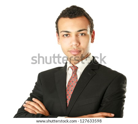 Handsome young business man standing with folded arms on white  background - stock photo