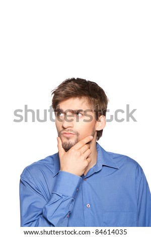 Handsome young business man thinking, isolated over white background. series of portrait photos.