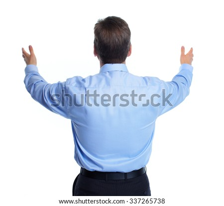Handsome young businessman. Isolated over white background.