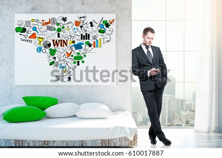 Handsome young businessman using smartphone in living room with sofa, city view and business sketch. Communication concept. 3D Rendering