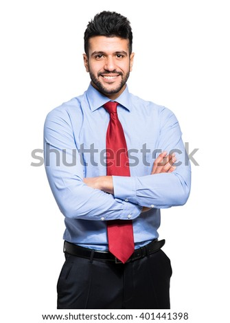 Handsome young confident businessman isolated on white - stock photo