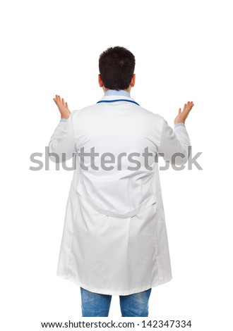 Handsome young doctor turned on white background