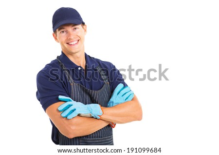 handsome young farmer wearing garden gloves isolated on white background - stock photo