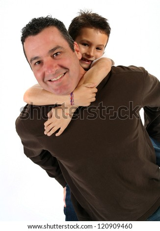 Handsome young father with son on white background for father's day
