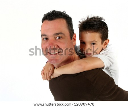 Handsome young father with son on white background for father's day - stock photo