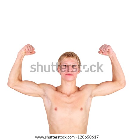 handsome young guy demonstrating his muscles