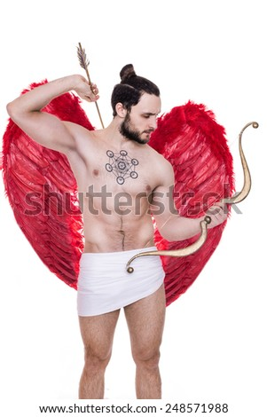 Handsome young guy dressed like Cupid with bow and arrows. Valentine, Archangel, Angel. Studio portrait isolated over white background - stock photo