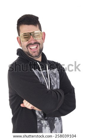 Handsome young guy wearing golden glasses and smiling