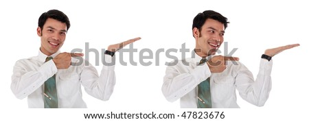 Handsome young  happy Asian Nepalese businessman smiling, Pointing to virtual product.  Studio white background - stock photo