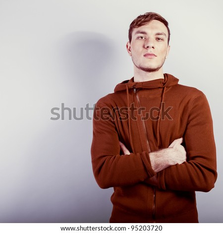handsome young male model posing - stock photo