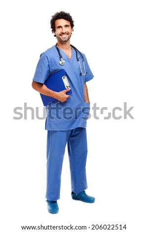 Handsome young male nurse isolated on white full length  - stock photo