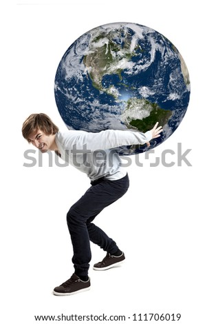 Handsome young man carying the planet earth on its backs, isolated on white