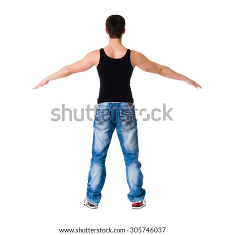 Handsome young man dancing isolated on white background in full body
