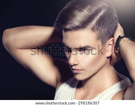 Fashion Young Model Man Portrait Handsome Guy Vogue Style Image