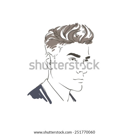 Handsome young man hand drawn illustration