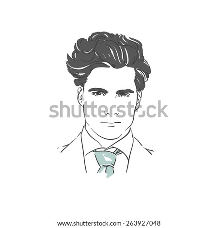 Handsome young man hand drawn illustration.  Rasterized copy - stock photo