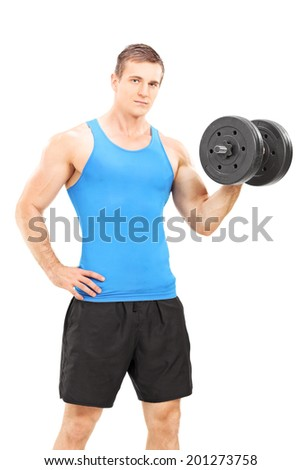 Handsome young man holding a barbell isolated on white background