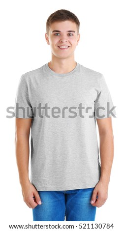 Handsome young man in blank grey t-shirt on white background