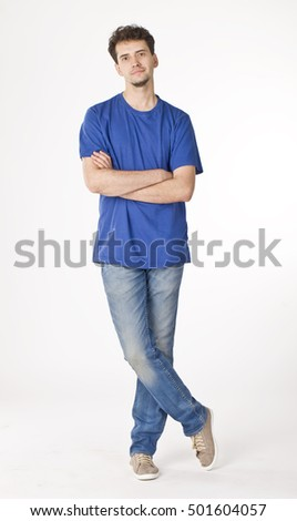 Handsome young man in blue portrait