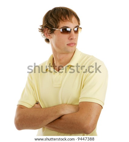Handsome young man in sunglasses.  Isolated on white background.