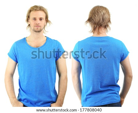 Handsome young man in t-shirt isolated on white - stock photo