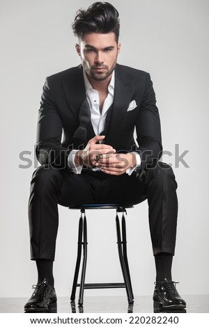 Man Sitting On Stool Stock Images Royalty Free Images