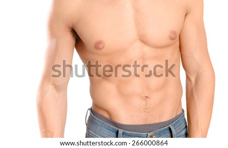 handsome young man isolated in white background