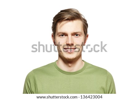 Handsome young man isolated over white. Portrait of young man, - stock photo