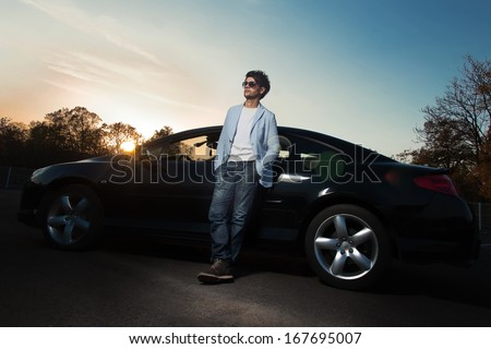 Man Leaning On Car Stock Images Royalty Free Images Vectors