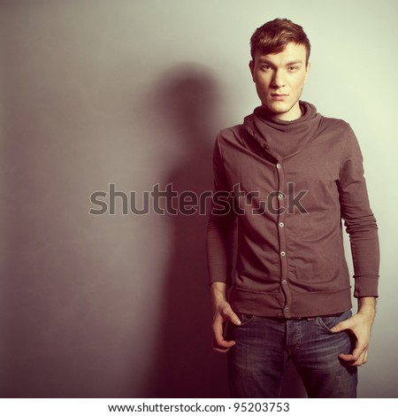 handsome young man model posing - stock photo