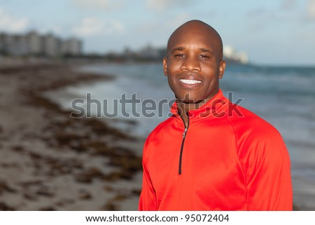 Handsome young man outdoors enjoying South Beach in Miami.