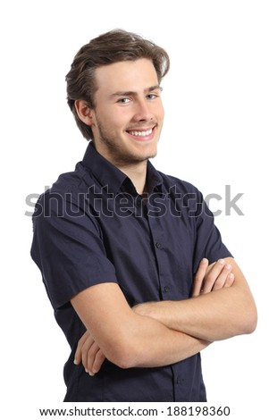 Handsome young man posing happy and confident isolated on a white background