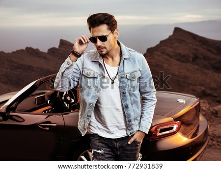 Ordinaire Handsome, Young Man Posing Next To His Luxurious Convertible Car