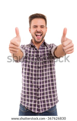 Handsome young man signaling ok, isolated over a white background - stock photo