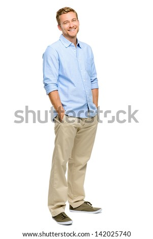 Handsome young man smiling full length white background - stock photo