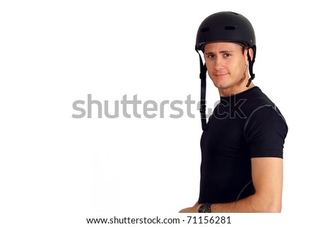 Handsome young man wearing biking or skater helmet