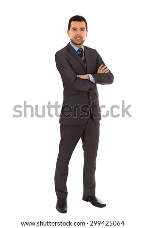 handsome young man wearing grey suit and crossing arms isolated on white - stock photo