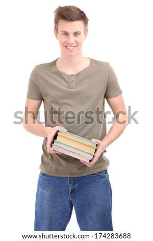 Handsome young man with books, isolated on white