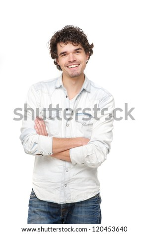 Handsome young man with folded arms and smile. Isolated on white background - stock photo